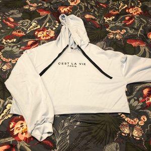 Women's cropped sweatshirt with hood